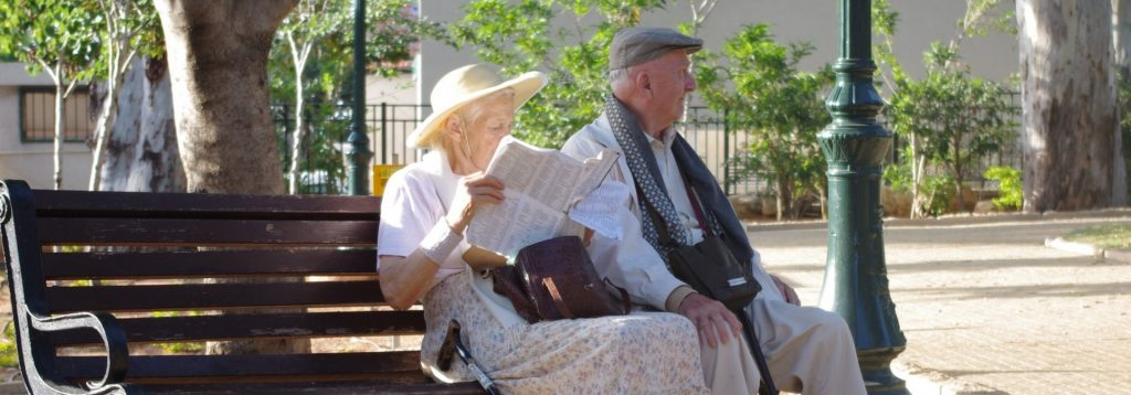 Park Couple Enjoy Love Old Age Retirement