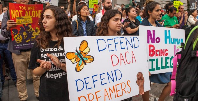 Protestors at a pro-DACA and 'Dreamers' rally in 2017